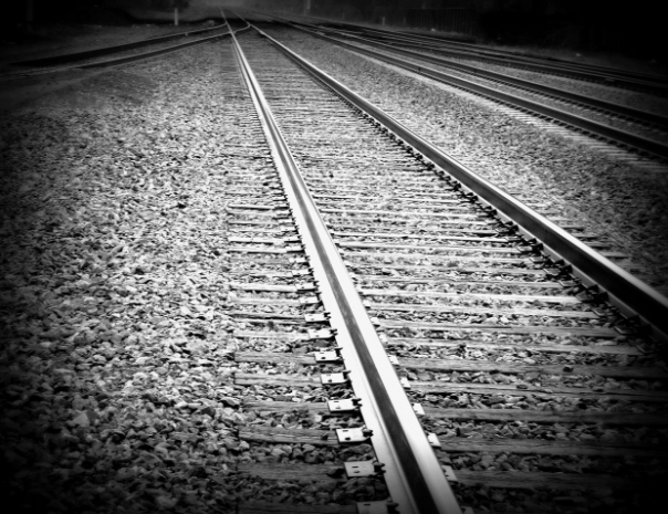 train tracks black and white