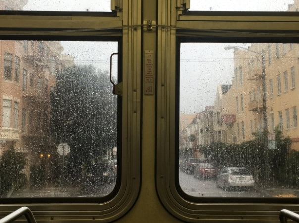out the transit window