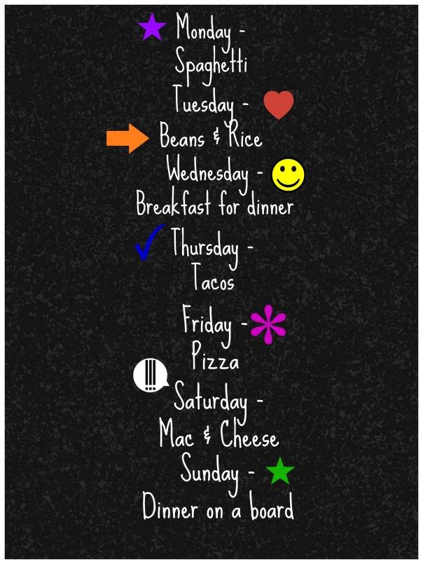 dinner meal plan menu
